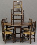 A harlequin set of five late 19th and early 20th century ash spindle back dining chairs with rush