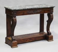 A mid-19th century French mahogany console table, the grey veined marble top above a single