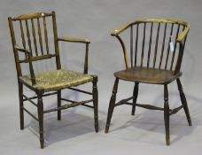 A 19th century ash and elm stick and hoop back Windsor elbow chair, on turned legs, height 82cm,
