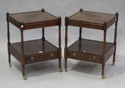 A pair of late 20th century reproduction mahogany lamp tables, height 63cm, width 46cm, depth 46cm.