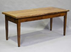 A 19th century French cherry drawleaf farmhouse table, fitted with a single end drawer, height 77cm,