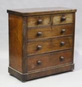 A Victorian mahogany chest of two short and three long oak-lined drawers, height 106cm, width 105cm,