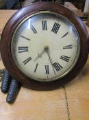 Late 19c German Black Forest wall clock with circular 'postmans alarm' type dial with convex glass
