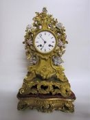 Mid 19c French mantel clock the dial and movement signed Rouilly & Hooker Paris and contained in