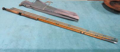 A Hardy 'Palakona' split bamboo 4 piece fishing rod, the Connoisseur pattern. With a cork handle and