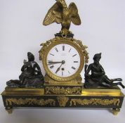 Early 19c English mantel clock the dial signed F Battens (Baetons?) London in a bronze and ormolu