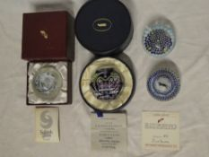 Four various quality paperweights including Whitefriars 1977 Silver Jubilee boxed paperweight,