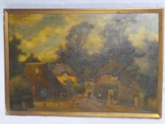 C**Vickers - oil on canvas A village scene with figures and animals,