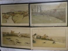 "Four coloured hunting prints ""The Cottesbrook Hunt"" after Cecil Aldin - ""The Brook/Nearing the"