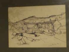 Giles Auty - pen and ink Penberth Cove, signed and dated '63,