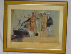 Artist Unknown - watercolour French Art Deco-style cartoon depicting figures on a pier, inscribed,