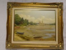 A**Wells-Price - oil on canvas A view of Truro Cathedral from Malpas, signed,