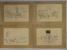 Four 19th Century pen and ink cartoon sketches of the Royal Artillery at Okehampton Camp 1897,