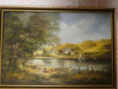 Ted Dyer - oil on canvas River scene with children in the foreground, signed,