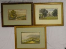 "Artist Unknown - watercolours Three various country scenes including ""Donyatt Church"", Dunster,"