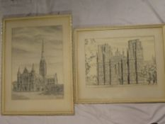 "W**R**McGrath - pencil/pen and ink ""Wells Cathedral/Salisbury Cathedral"", signed, labelled to verso,"