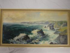 Agnes Hawkins - oil on board Bedruthan Steps, signed, inscribed to verso,