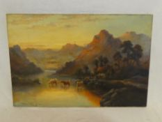 William Langley - oil on canvas Highland scene with cattle, signed,