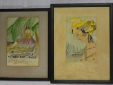 "Charles Martin - watercolours Two Art Deco studies of island scenes with females ""Le Madras"