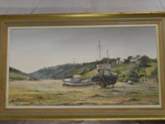 Wyn Appleford - oil on canvas The Gannel Estuary with fishing boats, signed,