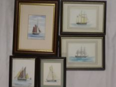 "Len Hatcher - watercolours Five small watercolours of shipping and yachts including ""Schooner Rhoda"