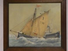 M**B**J** - watercolour German ship Kaiser Wilhelm approaching Southampton, signed with initials,