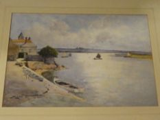Eyres Simmons - watercolour West Country estuary scene, signed,