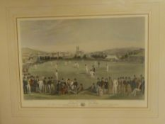 "A coloured print ""The Cricket Match"" after an engraving by G R Phillips,"