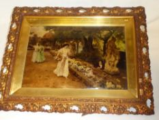 An old crystoleum depicting garden scene with females in ornate gilt frame,