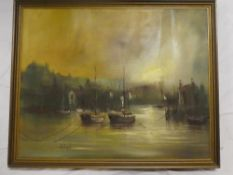 John Bampfield - oil on canvas Harbour scene with fishing boats, signed,