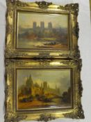 "H** Foley - oils on canvases ""Durham Cathedral from the river"" and one other cathedral scene with"