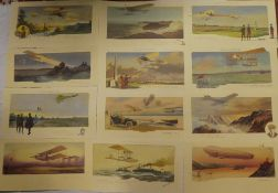 A set of twelve French unframed coloured prints after M Campion of early aircraft including