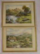 F**E**Jamieson - watercolours Highland cottage scene with cattle and Highland lake with sheep,