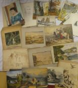 A selection of various unframed watercolours, illustrations,