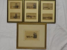 Six small black and white etchings of river scenes with shipping after W Ball,