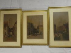 Three coloured etchings of Bruges, Amiens and Malines, signed by Doctor D Donald, labelled,
