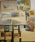 John Baron - watercolours A selection of various framed and unframed Cornish studies including