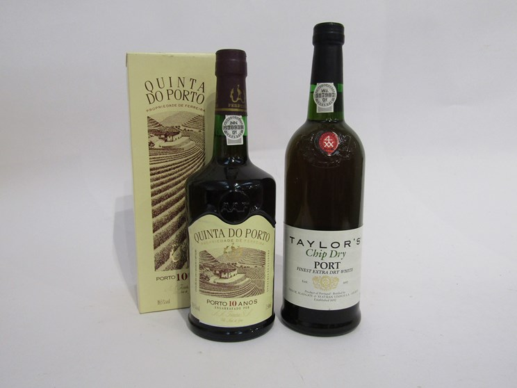 Lot 7053 - Taylor's Chip Dry Port, Finest Extra dry White 75cl, Quinta Do Porto 10 years,
