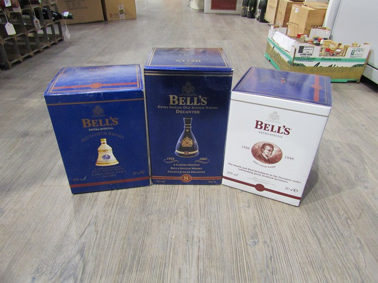 Lot 7035 - Three Bell's Whisky decanters,