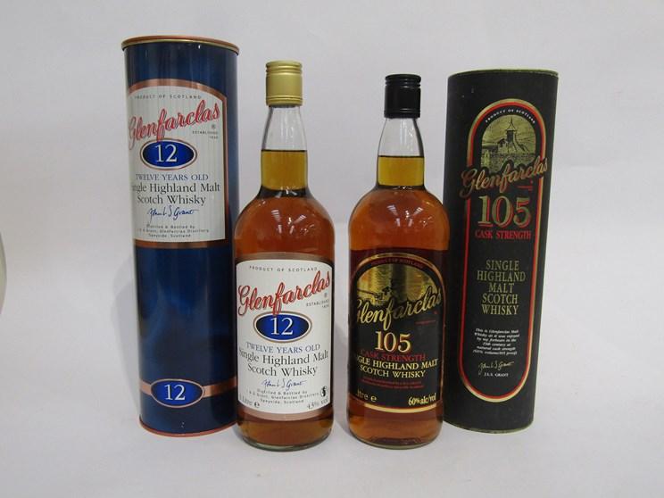 Lot 7042 - Glenfarclas 12 years Old Single Highland Malt Scotch Whisky 1ltr in tin,