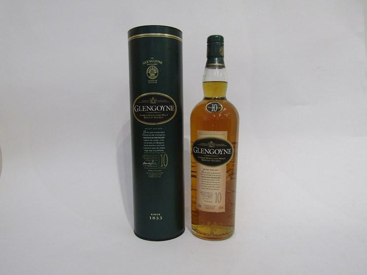 Lot 7043 - The Glengoyne 10 years Old Single Highland Malt Scotch Whisky 1ltr in tube