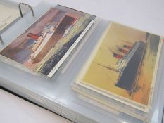 An album of postcards approximately 75 of cruise liners many stamped from early 1900 including