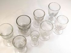 Eight various 19th Century wine glasses of varying shapes and forms, tallest 11.