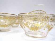 Four 19th Century gilt-etched glass bowls and a pair of stem vases (vases 17cm tall)