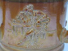 """A 19th Century salt glazed tyg with greyhound handles and armorial crested detail """"Friendship Love"""