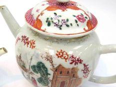 An 18th Century bullet form teapot and miniature teapot,