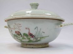A Ch'ien Lung 1736-1795 lidded bowl, possible restoration to handle,