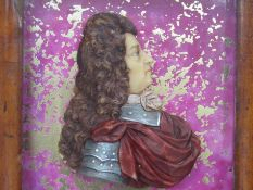 A wax bust of Cromwell in frame, 24.