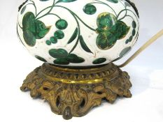 A 19th Century ormulu and Bohemian glass lamp converted to electricity,