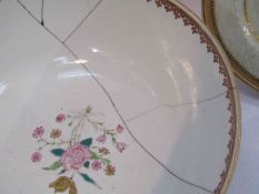Armorial plates and a bowl dated 1794 (4)